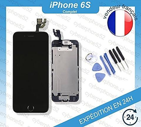 Ecran LCD Iphone 6s rétina Noir COMPLET + Vitre tactile sur châssis + Bouton home + Camera + Outils