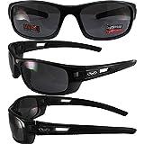 Global Vision Speedster Motorrad Sonnenbrille Crystal schwarz Rahmen Smoke Linse
