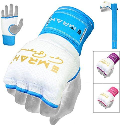 Guantes de boxeo Emrah. Guantes de boxeo con gel en el interior para entrenamiento, ideal para artes marciales mixtas, color blanc y azul, tamaño Medium