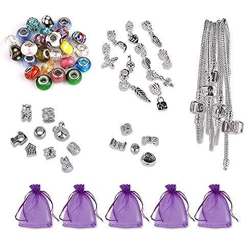 Luxbon Conjunto de Abalorios para Hacer Pulsera DIY Regalo Navidad Incluye 25 Charms Cristal de Murano, 5 pulseras, 10 encantos tibetanos, 10 colgantes, 5 clips, 5 bolsas de organza