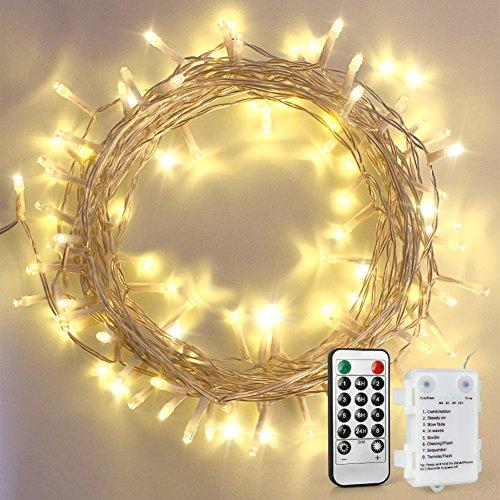 100 LED Lichterkette, für außen/innen, mit Fernbedienung und 4 Timer-Programme, 8 Modi der Stimmungslicht-Funktionen, AA Batteriebetrieben, 11m Warmweiß dimmbar, IP65 Wasserdicht Outdoor Deko
