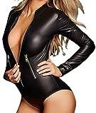 Lrud Fashion Damen Jumpsuit Bodycon Bodysuit Langarm Unterwäsche Stehkragen Outfit Bandage Netzeinsatz Top Overalls Bodys