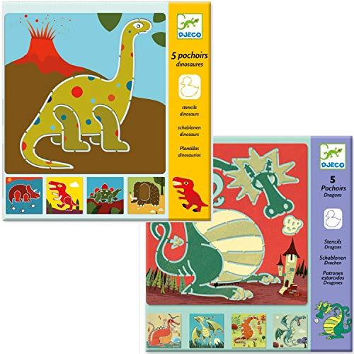 Djeco - Set di stencil a forma di drago e drago, per dipingere e disegnare...