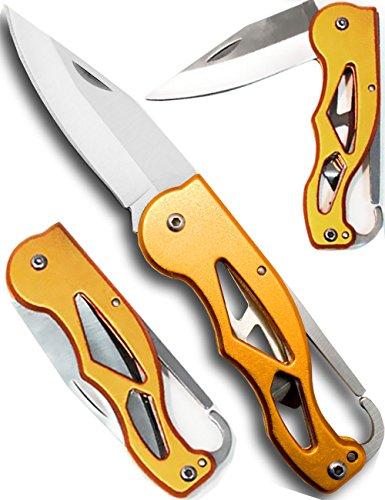 Outdoor saxx® – Compact Mousqueton Outdoor Étui de couteau | Camping, picknik, Randonnée pédestre | Mousqueton, clip de ceinture, lame inoxydable, le signal de couleur orange