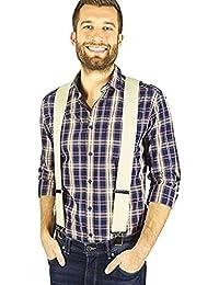 exxtrafein breite Hosenträger für Herren 5 cm mit Wäscheschutz -6 Farben verfügbar- (Creme)