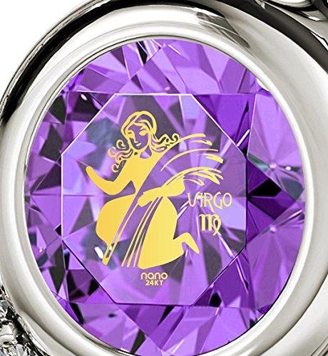 Pendentif Coeur Signe du Zodiaque en Argent 925 - Collier Vierge avec Inscription en Or 24ct sur un Cristal Swarovski, 45cm - Bijoux Nano Violet Clair