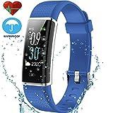 Techarooz Fitness Tracker, 14 modos de deportes, pantalla de color, monitor de actividad con monitor de ritmo cardíaco, reloj inteligente, pulsera impermeable con contador de calorías, podómetro, para niños, mujeres, hombres, 0.07, color azul