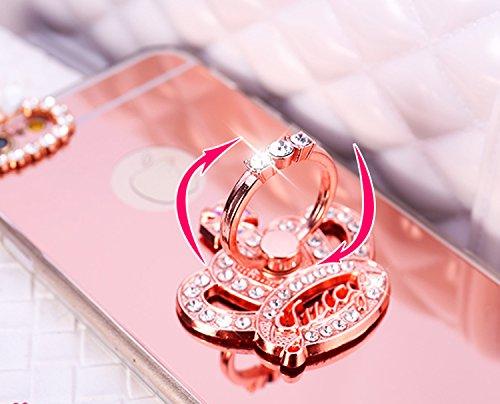 Coque iPhone 7, Étui iPhone 7, ikasus® Coque iPhone 7 Silicone Étui Housse Téléphone Couverture Miroir TPU avec [Diamant Ring Stand Support] Bowknot papillon couronne Modèle brillant Bling paillettes  Couronne en or rose
