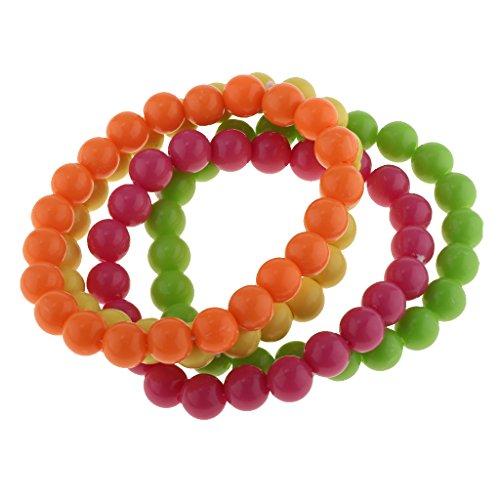 Fenteer 80er Jahre Damen Neon Perlen Schmuck Perlenkette für Hals/Arm - 8 cm