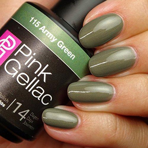 Vernis à ongles Pink Gellac 115 Army Green. 15 ml gel Manucure et Nail Art pour UV LED lampe, top coat résistant shellac