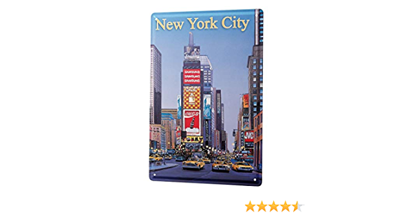 Huber New York City Metal Plaque Tin Sign XXL Travel Kitchen G