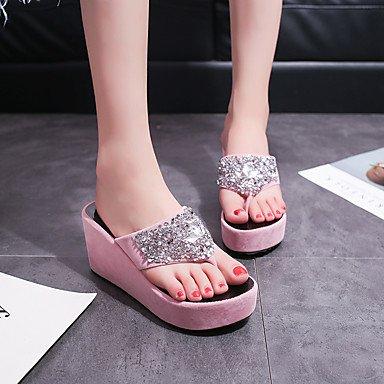 donne's i sandali conforto pu primavera - estate informale conforto a tacco bianco nero come casa rosa fucsia US8 / EU39 / UK6 / CN39