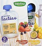Blédina Gourdes Lactées Fruits Rouges/Fruits Exotiques de 10 à 36 mois 4 x 85 g - Pack de 6