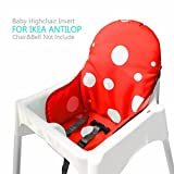 Ikea Antilop Highchair Seat Covers & Cushion by Zama, Washable Foldable Baby Highchair Cover Ikea Childs Chair Insert Mat Cushion (Red)