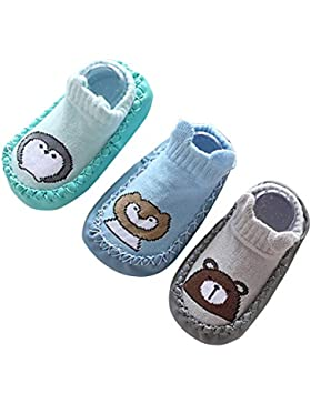 HAPPY CHERRY 3 Paar Baby Kleinkind ABS Rutschfest Socken Weich Baumwolle Erstlingssocken Lieblich Cartoon Babysocken