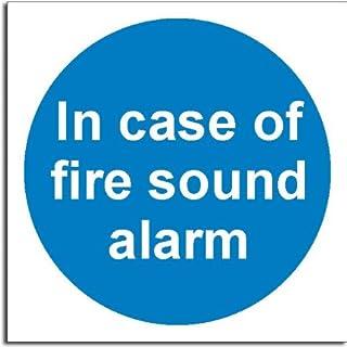In Case Of Fire - Sound Alarm Sign - Semi Rigid Plastic - 100x100mm(MA-099-RB)