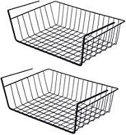 2 Pcs Kitchen Under Shelf Storage Basket Large - Lightweight Metal Organizer Rack 40 X 26 X 14 cm