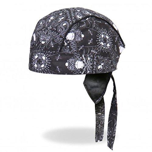Hot Leathers Schwarz Weiß Totenkopf Paisley Kopf Wrap Durag Skull Cap Biker Tuch DOO Rag - Rag Biker Skull Cap