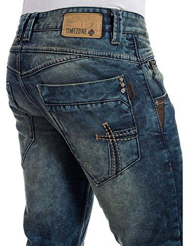 Timezone Herren Straight Leg Jeans HaroldTZ rough Blau (dirty marble wash 3758)