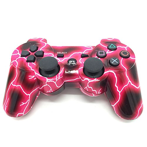 PS3 Gamepad Bluetooth Controller für PS3, kabelloses Gamepad Remote Joystick mit Dualshock Bluetooth-Verbindung für Playstation 3 Long:103cm; Wide:14cm red Light (Playstation Remote Controller)