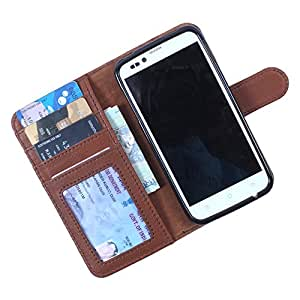 Dooda Genuine Leather Wallet Flip Case For Lava iris 359 (TAN BROWN)