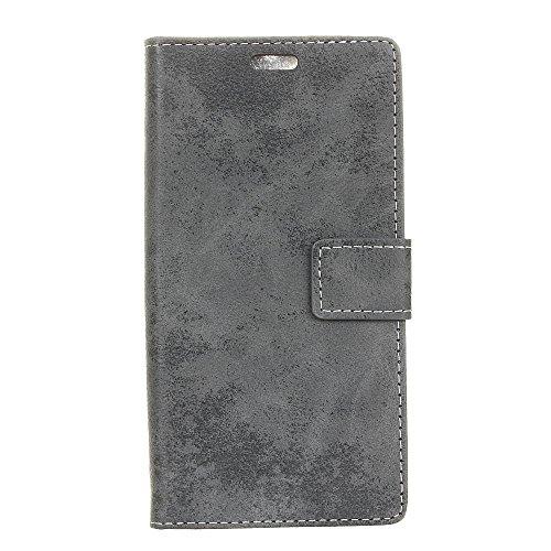 Sunrive Hülle Für Huawei Y6 2018/Y6 Prime 2018, Magnetisch Schaltfläche Ledertasche Schutzhülle Case Handyhülle Schalen Handy Tasche Lederhülle(Retro grau)+Gratis Universal Eingabestift