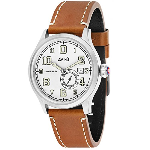 FlyBoy AV-4058-01 Men's Automatic Watch – AVI-8 – Leather – Sapphire Glass – 42 mm