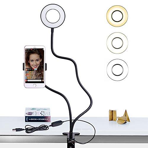 Comsoon Support Téléphone avec Selfie Ring Light pour le Flux en Direct et le Maquillage [10-Niveau Luminosité] [3-Mode d'Éclairage] Support Paresseux pour Mobile, Lampe de Bureau pour Cuisine Chambre