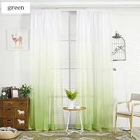 Nclon Farbverlauf Voile Vorhänge Gardinen,Leichtes Getriebe Atmungsaktive  Romantisch Balkon Schlafzimmer Vorhänge Gardinen Grün