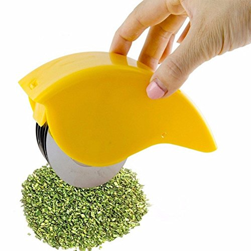 NEW Herb Rolling Mincer Non-slip Grid 6 Stainless Steel Blades Mincing...