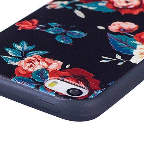 Cover per iphone 5S/5 iphone SE Silicone Morbida ,OYIME [Carino Panda] Disegni in Rilievo Vivace Colorato Creative con Nero Bordi Custodia per Apple iphone 5/5S/SE Flessibile Sottile Originale Elegant Rose Rossa