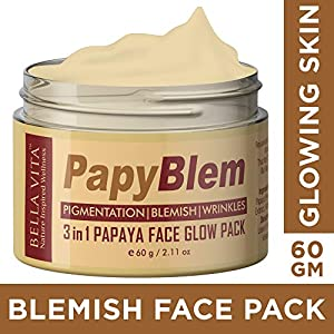 Bella Vita Organic Pigmentation Blemish Removal Face Pack with Papaya, Aloe and Bentonite, 60 gm