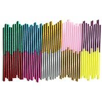 Paquete de 100 unidades de barras de silicona con purpurina para pistola caliente, ideal para manualidades. Tamaño 7 x 100 mm.