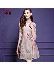 La mujer es elegante retro de manga medio tinta pintura cheongsam vestido de seda,M