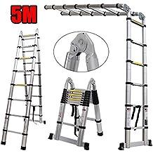 Nestling/® Teleskopleiter 2.6M Alu Leiter Ausziehbar Haushaltsleiter Teleskopleiter Aluminium Klappleiter Ausziehleiter Mehrzweckleiter Maximale Belastbarkeit 150 kg