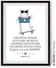 """ABOUKI Kinder Poster Kinderzimmer Kunstdruck Bild - ungerahmt - mit Bär und Skateboard Motiv """"Frech und wild"""", personalisierte Geschenkidee mit Wunschnamen und Datum Baby Mädchen Junge Kind Wandbild Geschenk Taufe Taufgeschenk Namensdruck Geburtsdruck"""