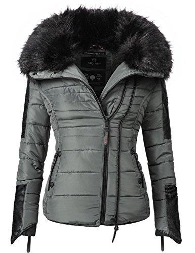 Navahoo Damen Jacke Winterjacke Steppjacke Yuki2 (vegan hergestellt) Dunkelgrau Gr. M
