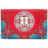 BEDLININGS Küche Teppiche, Rutschfeste Teppiche Gummiunterlage Rote Wort Muster Flanell Matte für Küche Wohnzimmer Badezimmer Chinesische Liebe Stil,B,50 * 80cm