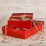Giftisimo Dekorative handgemachte Geschenkbox SABINA -36 x 24 x 7,5 cm - aus Wickles Papier gemacht - Design: roter Komet.