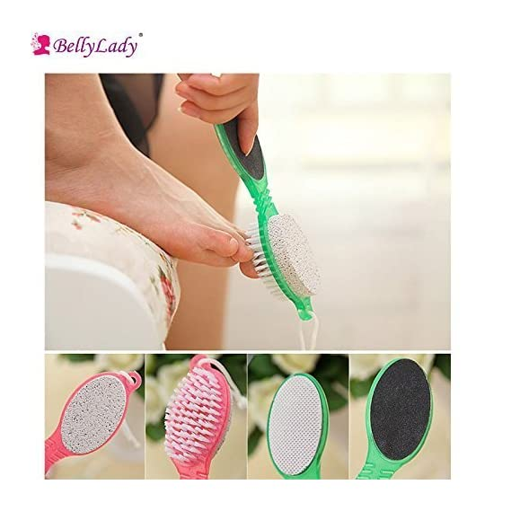 Onlix 4 in 1 Foot Care Callus Brush Pumice Grinding Feet Stone Scrubber Pedicure Exfoliate Remover Two sides Cleaning dust dead skin(Set of 2)