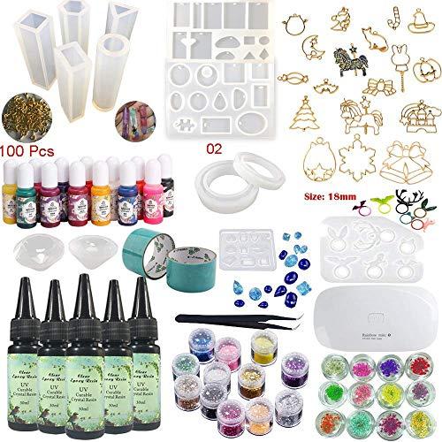 parentes Epoxidharz-UV-Klebeset mit Lampenpinzette 13 Silikonformen 24 Dekorationen 17 Einfassungen 13 Farbpigmente 2 Bänder 100 Ösen für Schmuck Ohrringe Halskette Armband ()