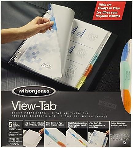 Wilson Jones View-Tab Sheet Protectors, 5 Tabs, Letter Size, Multi-Color