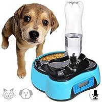 Comedero Perro Automatico 1.6L Dispensador Agua Gatos Alimentador Gatos con Temporizador,Antideslizante y Grabación de Voz