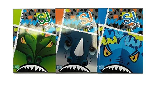 SJ ANIMALI MASCHIO RIGO B QUADERNO Maxi A4-3 pezzi quadernone fantasie assortite 30/% fogli riga per 3a elementare SEVEN scuola 2019//20 max q.ty