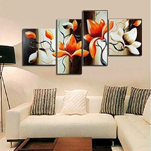 Vier-panel-natural (QZHS Hand painted oil painting Modern Home Decor Wall Art 4 Panel Pictures Acrylic Floral Paintings Hand Painted Abstract Flower Oil Painting On Canvas Artwork)