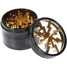 VANKER Aluminio amoladora del diseño del relámpago de 63 mm de Colorido tubo de vaporización 4 capa -- Amarillo