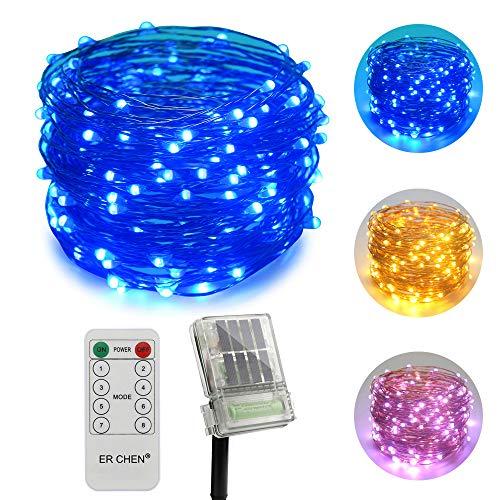 ErChen Zweifarbige Solarbetriebene + batteriebetriebene LED Lichterkette, 66 FT 200 Leds Fernbedienung Farbe ändern 8 Modi Kupfer Draht-Lichterketten für Außen Balkon Garten Terrasse (warmweiß, Blau) -