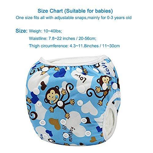 Sijueam Schwimmwindel Waschbar Mehrwegwindeln Baby Diapers Wasserdicht Windelhosen Unisex Einheitsgröße Einstellbar Badeshorts Leakproof Wassersport Bademode – Blue Monkey - 5