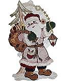 hübsches Fensterbild 20x34 cm + Saugnapf PLAUENER SPITZE ® Weihnachten Weihnachtsmann groß mit LATERNE Spitzenbild Advent Kinderzimmer