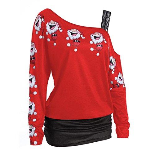 Femme Tops, IMJONO Womens Christmas Print Tops manches longues hors épaule blouse longue chemises Rouge